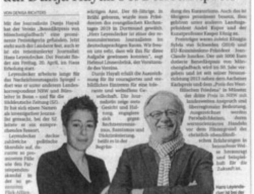 Hans Leyendecker hält Laudatio auf Dunja Hayali bei Benediktpreis
